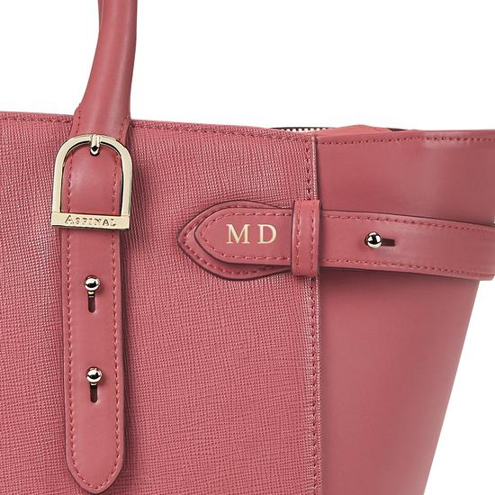 Midi Marylebone Tech Tote in Blusher Saffiano from Aspinal of London