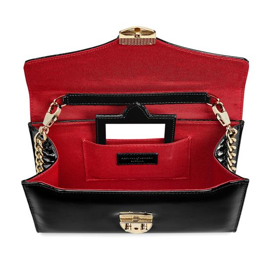 Manhattan Clutch with Chain in Deep Shine Black Patent from Aspinal of London