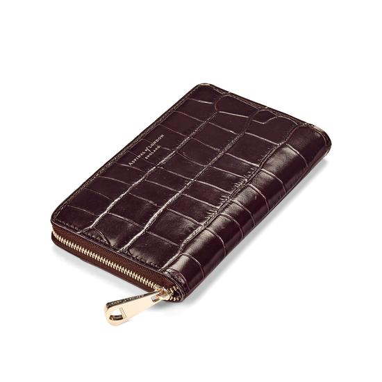 Midi Continental Clutch Zip Wallet in Deep Shine Amazon Brown Croc from Aspinal of London