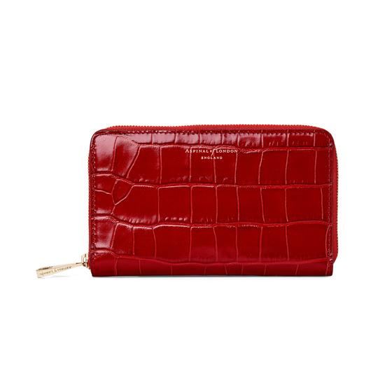 Midi Continental Clutch Zip Wallet in Deep Shine Red Croc from Aspinal of London