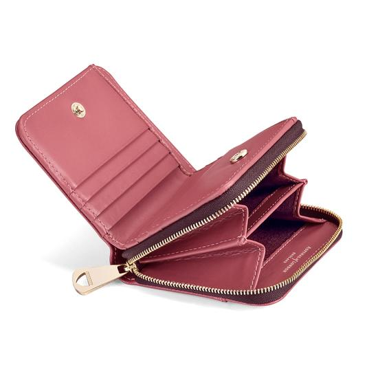 Mini Continental Zipped Coin Purse in Blusher Saffiano from Aspinal of London
