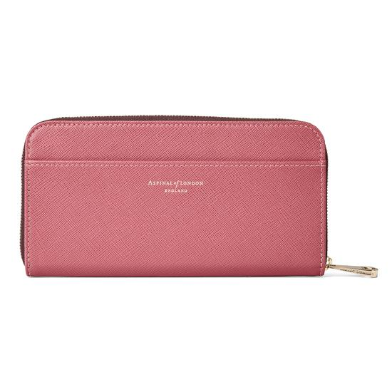 Continental Clutch Zip Wallet in Blusher Saffiano from Aspinal of London