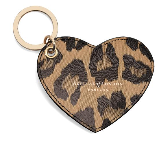 Heart Key Ring in Digital Leopard Print from Aspinal of London