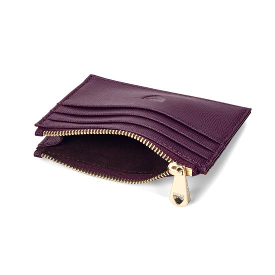 Zip Top Coin & Card Case in Grape Saffiano & Cappuccino Suede from Aspinal of London