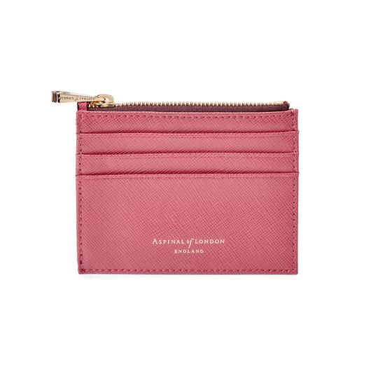 Zip Top Coin & Card Case in Blusher Saffiano & Espresso Suede from Aspinal of London