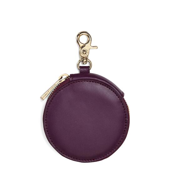 Round Coin Purse with Keyring in Grape Saffiano & Cappuccino Suede from Aspinal of London