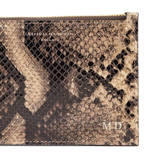 Small Essential Flat Pouch in Tan Snake Print from Aspinal of London