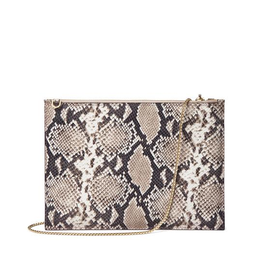 Soho Double Sided Clutch in Smooth Chanterelle & Natural Python Print from Aspinal of London