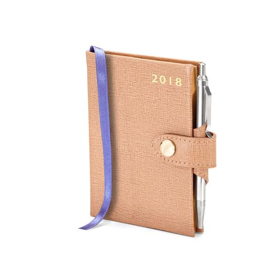 Mini Pocket Leather Diary with Pen in Deer Saffiano from Aspinal of London