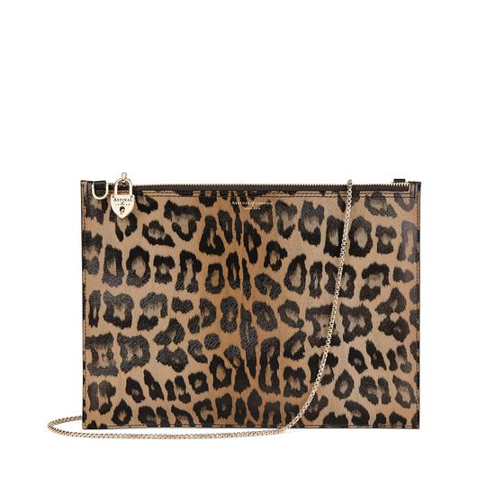 Soho Double Sided Clutch in Digital Leopard Print & Smooth Black from Aspinal of London