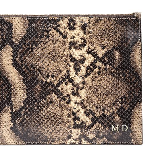 Large Essential Flat Pouch in Tan Snake Print from Aspinal of London