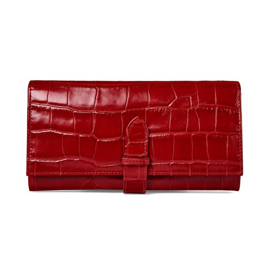 London Ladies Purse Wallet in Deep Shine Red Croc from Aspinal of London