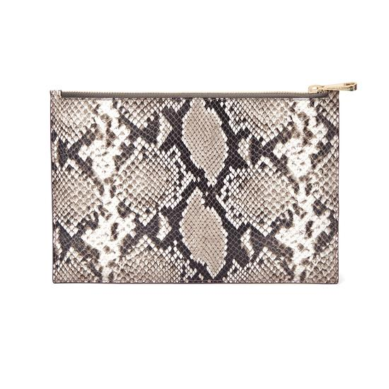 Large Essential Flat Pouch in Smooth Chanterelle & Natural Python Print from Aspinal of London