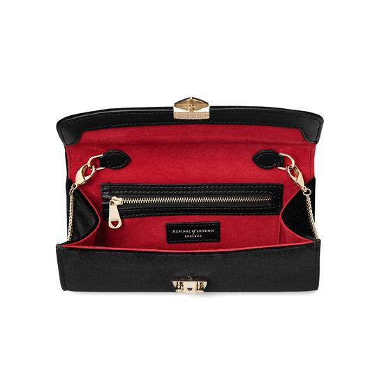 Mini Eaton Clutch in Black Velvet from Aspinal of London