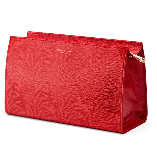 Large Cosmetic Case in Berry Lizard from Aspinal of London