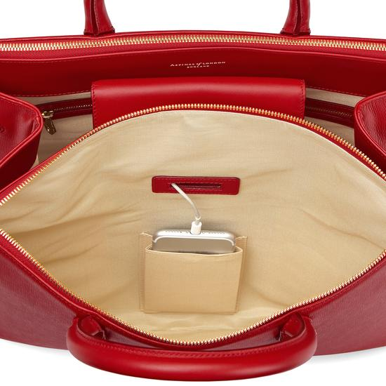 Editor's Tote in Scarlet Saffiano from Aspinal of London