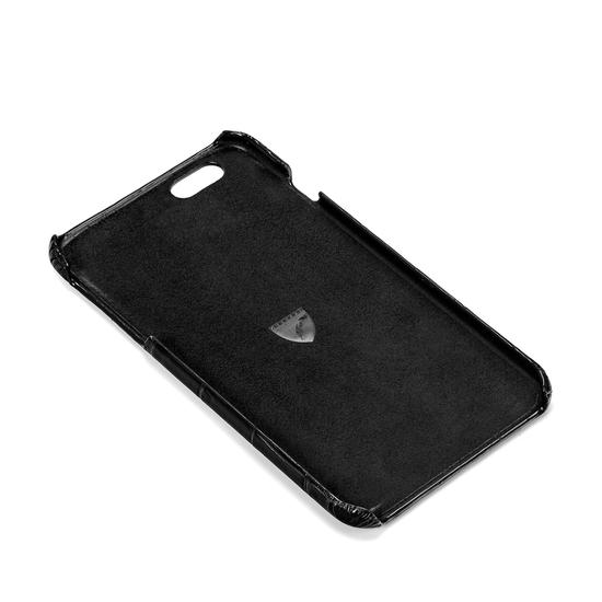 iPhone 6 Plus Leather Cover in Deep Shine Black Croc & Black Suede from Aspinal of London