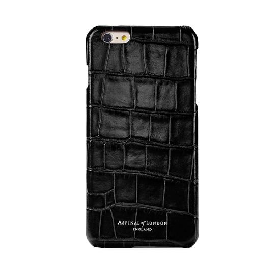iPhone 7/8 Leather Cover in Deep Shine Black Croc & Black Suede from Aspinal of London