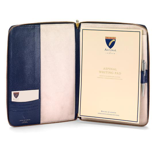 Executive A4 Zipped Padfolio in Midnight Blue Lizard & Cream Suede from Aspinal of London