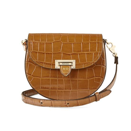 Portobello Bag in Deep Shine Vintage Tan Croc from Aspinal of London