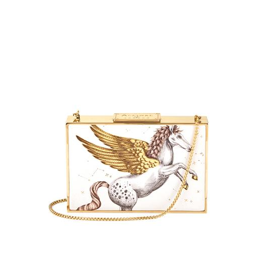 Scarlett Box Clutch in Pegasus Ivory Print from Aspinal of London