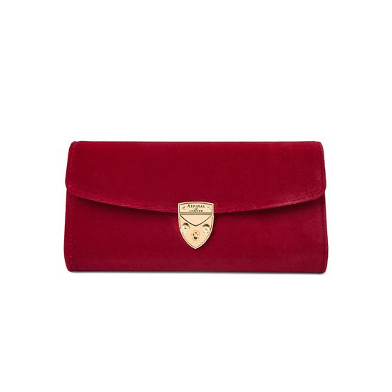 Mini Eaton Clutch in Scarlet Velvet from Aspinal of London