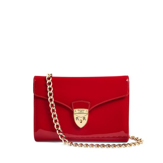 Manhattan Clutch with Chain in Deep Shine Red Patent from Aspinal of London