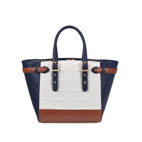 Mini Marylebone Tote in Smooth Blue Moon & Snow White Croc Mix from Aspinal of London