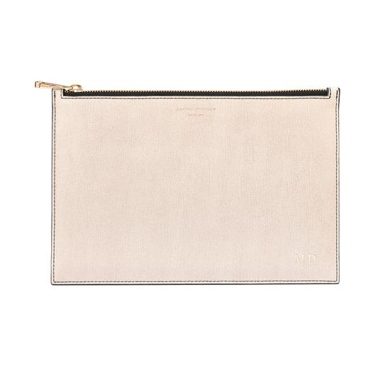 Large Essential Flat Pouch in Monochrome Mix from Aspinal of London