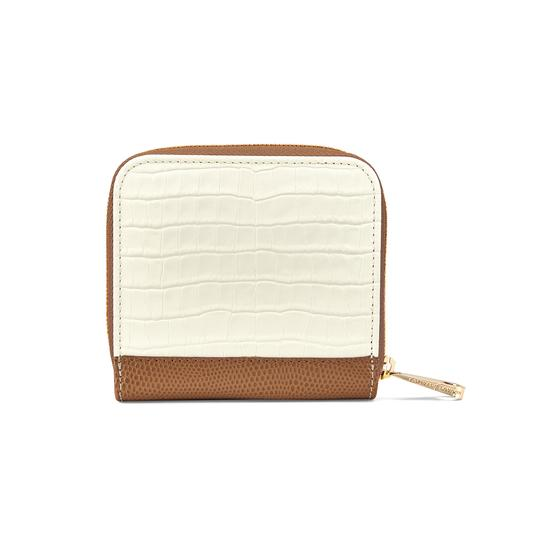 Mini Continental Zipped Coin Purse Deep Shine Ivory Small Croc & Camel Lizard from Aspinal of London