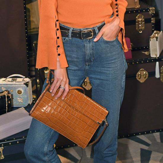 Editor's Clutch in Deep Shine Amazon Brown Croc from Aspinal of London