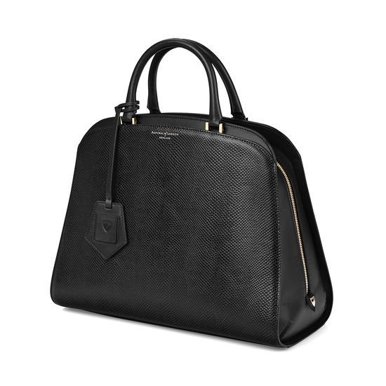 Hepburn Bag in Jet Black Lizard from Aspinal of London