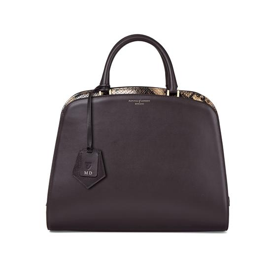 Hepburn Bag in Smooth Dark Brown & Tan Snake Print from Aspinal of London