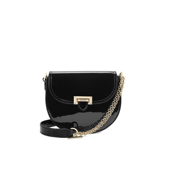 Portobello Bag in Deep Shine Black Patent from Aspinal of London