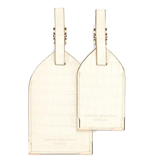 Set of 2 Luggage Tags Deep Shine Ivory Small Croc & Camel Lizard from Aspinal of London