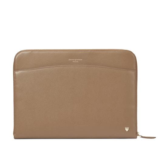 Zipped Laptop Case in Camel Saffiano from Aspinal of London