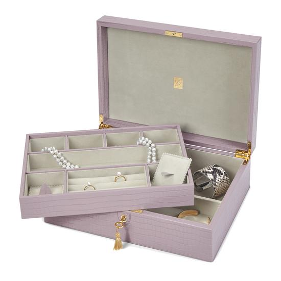 Grand Luxe Jewellery Box in Deep Shine Lilac Small Croc from Aspinal of London