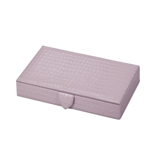 Paris Jewellery Box in Deep Shine Lilac Small Croc from Aspinal of London