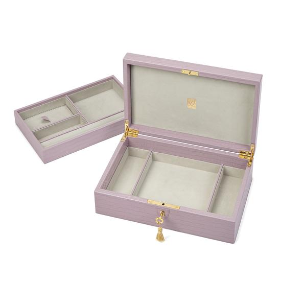 Savoy Jewellery Box in Deep Shine Lilac Small Croc from Aspinal of London