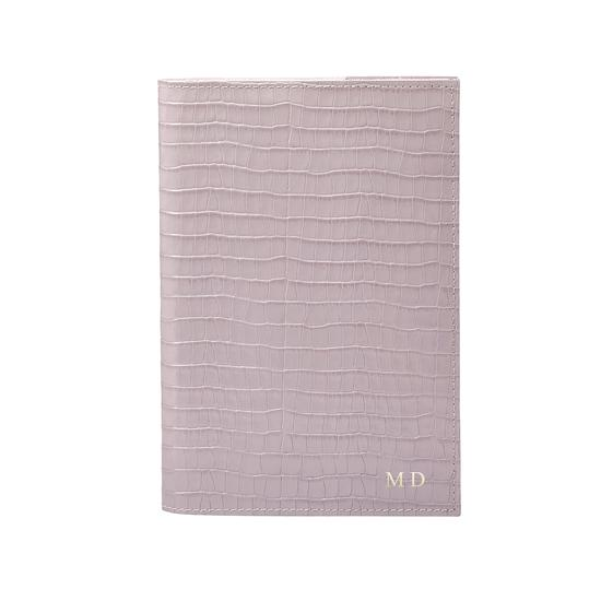 A5 Refillable Leather Journal in Deep Shine Lilac Small Croc from Aspinal of London