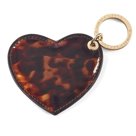 Heart Keyring in Deep Shine Tortoiseshell Patent from Aspinal of London