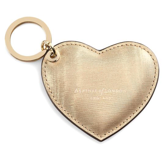 Heart Keyring in Gold Moire Print from Aspinal of London