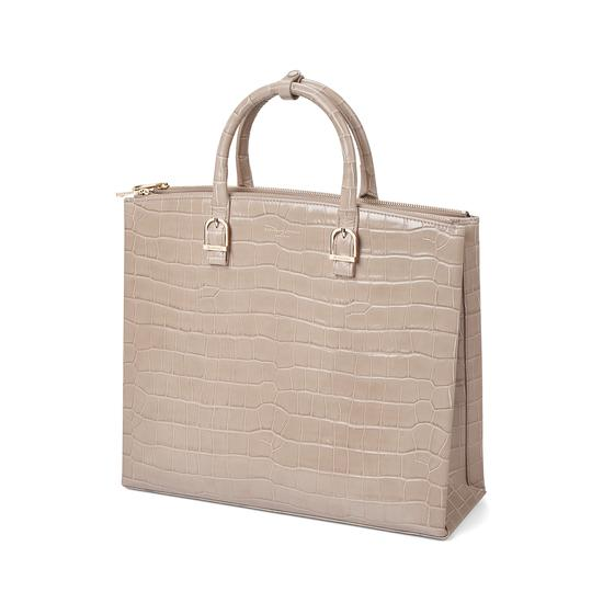 Editor's Tote in Deep Shine Soft Taupe Croc from Aspinal of London
