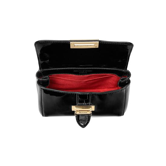 Micro Lottie Bag in Deep Shine Black Patent from Aspinal of London