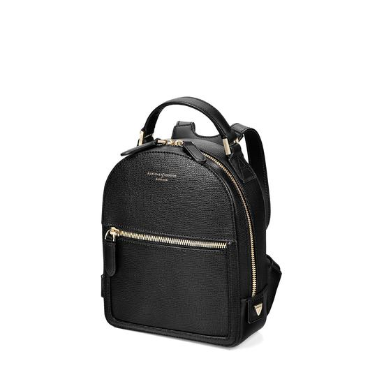 Micro Mount Street Backpack in Black Pebble from Aspinal of London