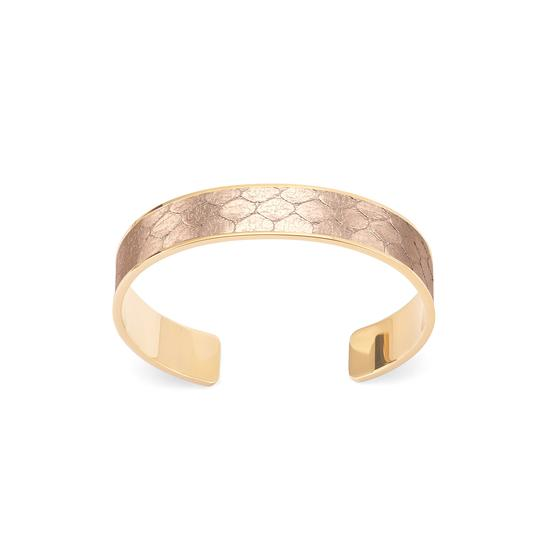 Cleopatra Skinny Cuff Bracelet in Rose Gold Snake Print from Aspinal of London
