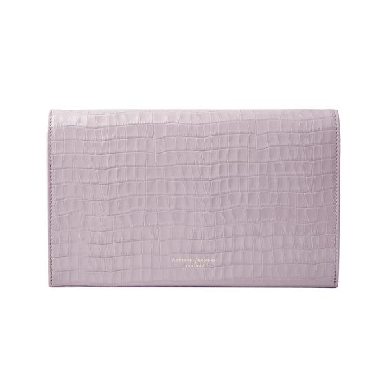 Classic Travel Wallet in Deep Shine Lilac Small Croc from Aspinal of London
