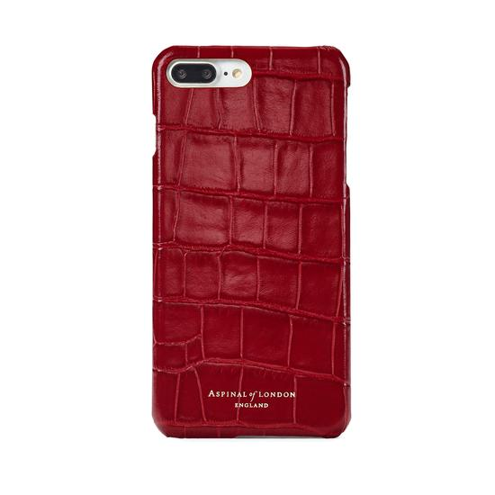 iPhone 7 Plus Leather Cover in Deep Shine Red Croc from Aspinal of London