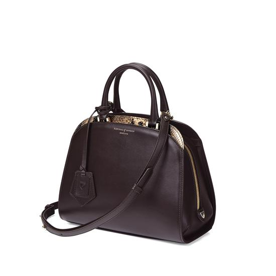 Mini Hepburn Bag in Smooth Dark Brown & Tan Snake Print from Aspinal of London