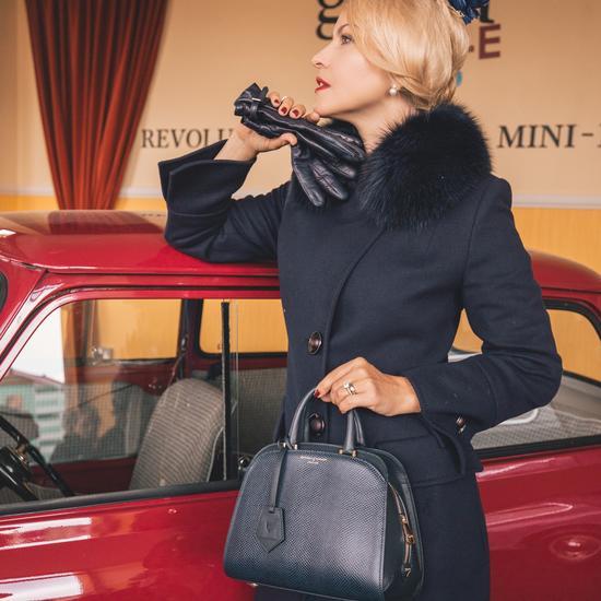 Mini Hepburn Bag in Smooth Dark Brown & Tan Snake Print from Aspinal of London